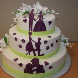 Hochzeitstorte mit Schattenbilder
